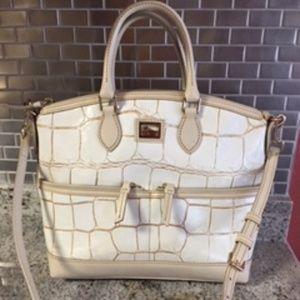 Dooney & Bourke Ecru Croco Leather Satchel Handbag